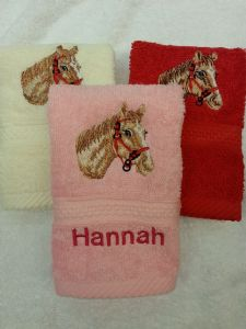 HORSES HEAD PERSONALISED FACE CLOTH / FLANNEL- Animals